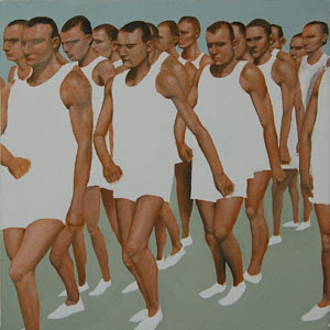 painting titled Athletes