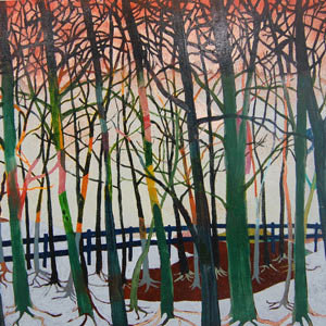 painting titled Edge of the Woods at Dawn