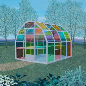 painting titled Stained Glass Greenhouse