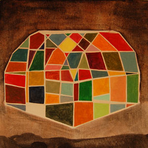 painting titled Stained Glass Greenhouse (study)